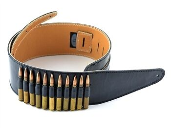 """Pete Schmidt 3 1/2"""" Black Leather Strap with 30-06 Dummy Bullets"""