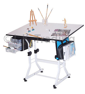 Drafting Table Drawing Table Hobby Art Drawers Adjustable Tilt 90 Day Guarantee