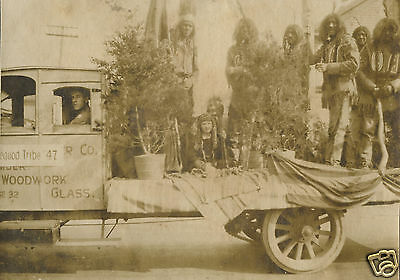 Antique Vintage American Parade Pequod Indian Tribe Float Unusual Old Photo