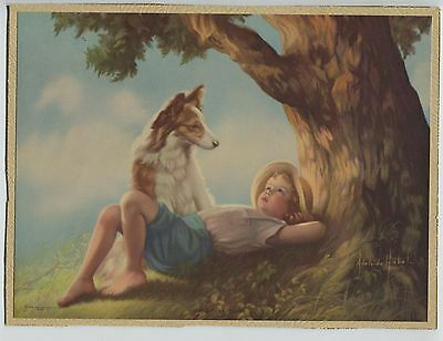 Vintage 1930's-40's Print Boy Laying Under Tree with Collie Dog  Adelaide Hiebel