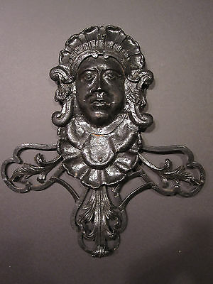 Antique American Folk Art Iron Victorian Androgynous Cast Face Interior Decorate