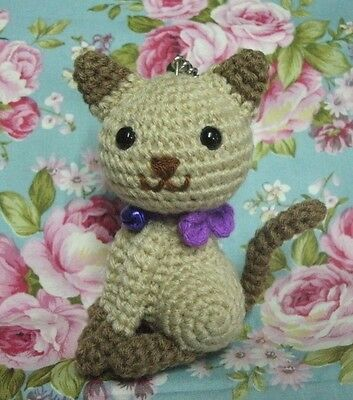 Cute Brown Cat Handmade Crochet Stuffed Animal Toy Key Chain Height  3.5""