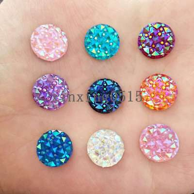 DIY 80PCS 12mm Resin Round Mini Faceted FlatBack Rhinestone Appliques/Buttons