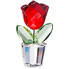 "Swarovski Silver Crystal ""red Tulip Happy Flowers Theme 657109 Mint In Box"