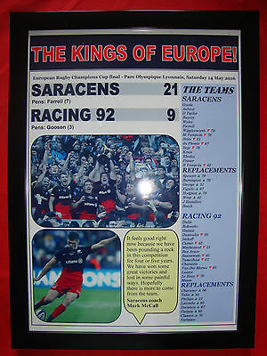 Saracens 21 Racing 92 9 - 2016 European Champions Cup final - framed print