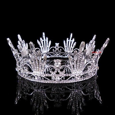 5.5cm High Adult Full Crystal Wedding Bridal Party Pageant Prom Round Crown
