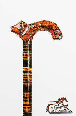 Stunning ''fox'' Wooden Walking Stick! Hand Crafted Carved Ornaments!