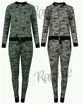 New Womens Zipper Bomber Jacket Top Jogger Camouflage Print Lounge Set Tracksuit