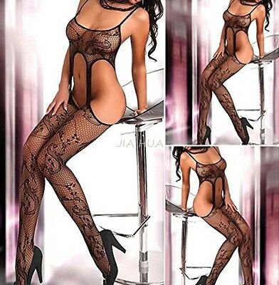 Women Sexy Lingerie Nightwear Open Fishnet Body Stocking Bodysuit Underwear