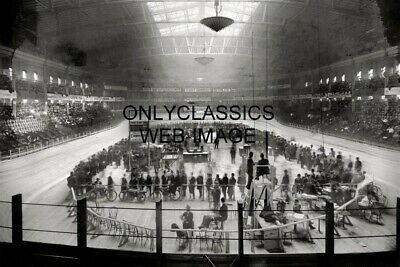 1908 Madison Square Garden Boardtrack Motorcycle And Bicycle Racing Photo Indian