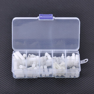 HOT 120pcs Assortment White Kit Nylon M3 Screws Hex Nut Standoff Spacers Column
