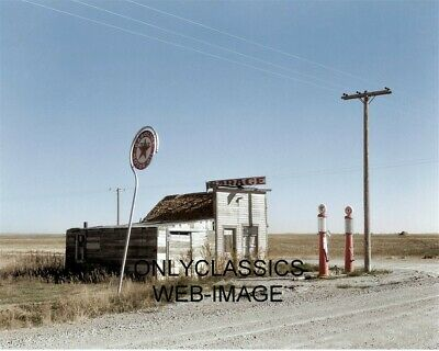 1937 Middle Of Nowhere Texaco Gas Station Garage Colorized Photo Americana Pumps