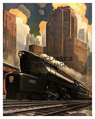 1940 Art Deco Pennsylvania Railroad Train Poster Streamlined Locomotive Graphics