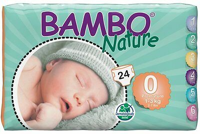 Bambo Nature - Premium Baby Diapers,Size 0 - Premature 2-7Lbs/1-3kg-144 Count