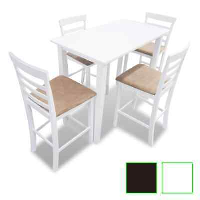 Set table et chaises de bar en bois Blanc / Marron Ensemble de table et chaises