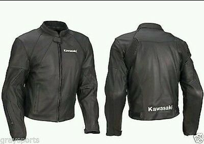 Kawasaki Motorbike Leather Jacket Motorcycle Rider Leather Jacket Racing Xs-4xl
