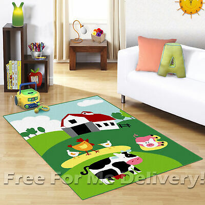 KIDS EXPRESS FARMYARD ANIMALS FUN FLOOR RUG (XS) 100x150cm **FREE DELIVERY**