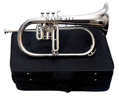 3 Valve Flugel Horn Chrome Polished Nickel Plated With Free Handmade Case + Np