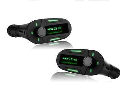 LCD Car MP3 FM Transmiter Modulator For ipod MP3 Player USB SD with Remote Green