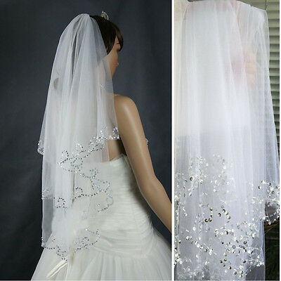 2Tier Ivory White Elbow Length Wedding Bridal Veil with Comb Beaded Sequins Edge