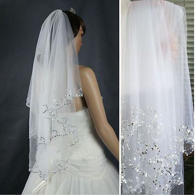 Beautiful 2T White Ivory Sequins Beaded Edge Wedding Bridal Elbow Veil with Comb