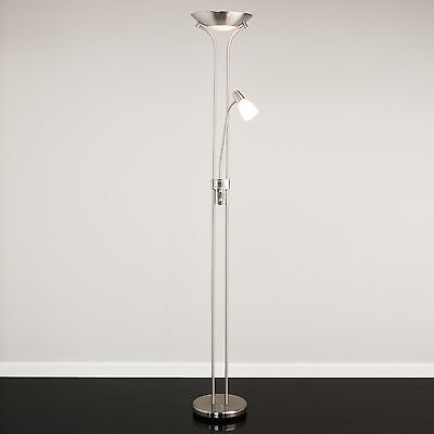 Mother and Child Floor Lamp - Satin Nickel - Complete With LED Bulbs
