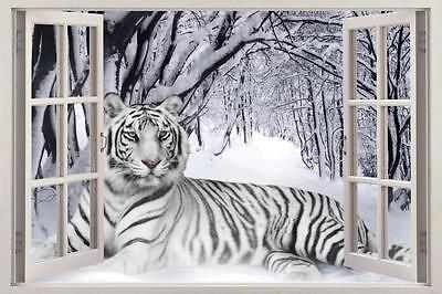 Snow Tiger 3D Window View Decal WALL STICKER Art Mural Siberian White Animals