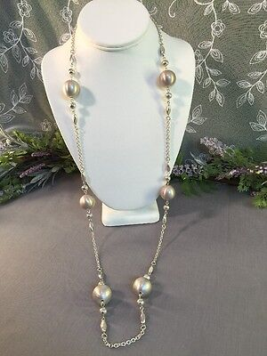 Lovely Vintage To Now Silvertone Metal Beaded Necklace-- Estate Jewelry Lot