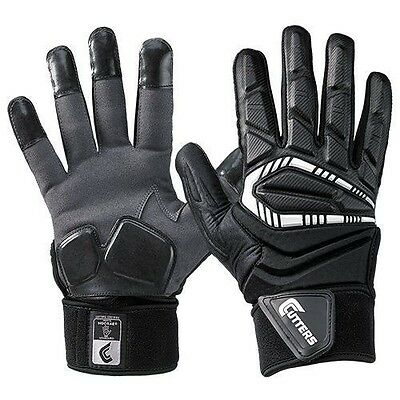 Cutters CTack The Force Full Finger Football Lineman Gloves w/ Padded Palms Blk