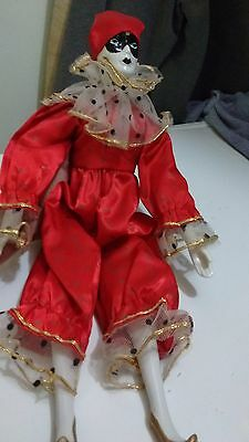 """Musical Porcelain Clown Doll """"Plays Send In The Clowns"""" Red Satin Clothes & Cap"""