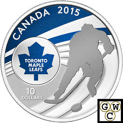 2015 TML- NHL Color Prf $10 Silver Coin 1/2oz .9999 Fine (14096 NT)