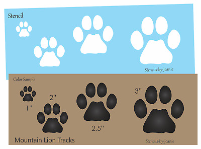 Stencil Mountain Lion Paw Print Animal Track Outdoor Rustic Wildlife Cat Signs