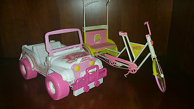 Vintage Barbie Beach Party Blast Jeep 1988 California Taxi Vehicle  LOT RARE