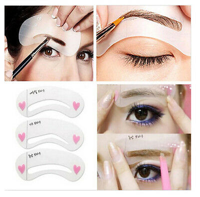 3 Styles Eyebrow Stencil Shaping Grooming Template Reusable Tools DIY Makeup Set