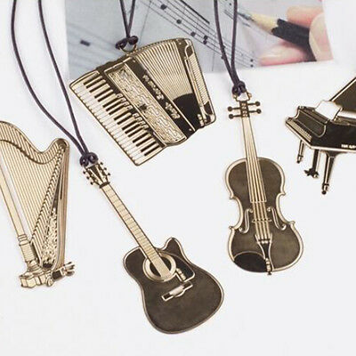 1PC Gold Plated Musical Instrument Vintage Cute Bookmark Book Mark SE