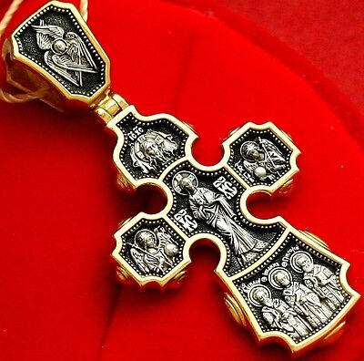 Russian Orthodox Crucifix. Archangels, Saints, Mother Of God. Silver+24K Gold