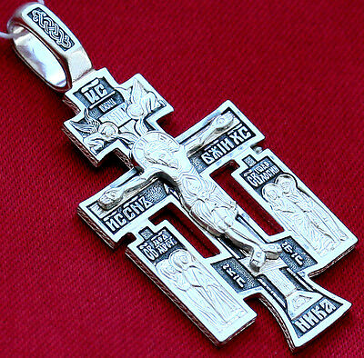 Russian Orthodox Icon Cross, Silver 925. Crucifix With Prayer.saint Medal. New
