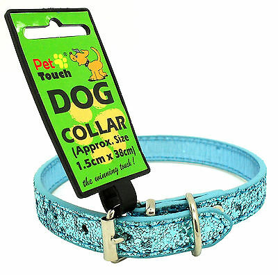 Small Pet Puppy Cat Dog Glitter Bling Sparkle Collar  Adjustable PU Leather Blue