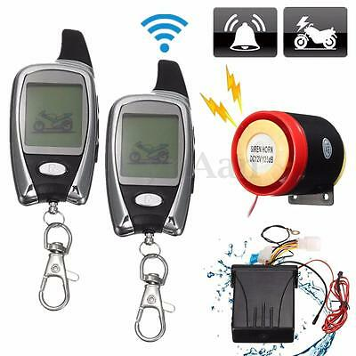LCD 2Way Motorcycle Anti-theft Security Alarm System Remote Control Engine Start