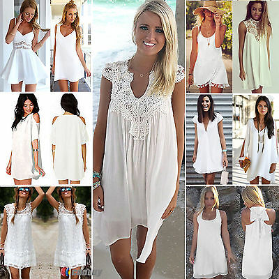 White Womens Playsuit Summer Casual Chiffon Beach Lace Short Mini Dress Rompers