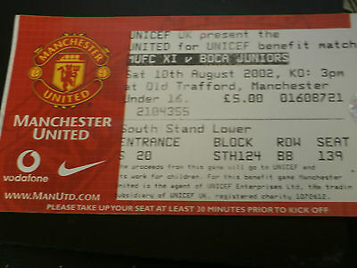 Manchester United v Boca Juniors 10th August 2002 Unicef Benefit Match Ticket