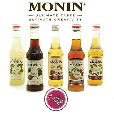 Monin Coffee Syrups -25cl Small Glass Bottles - AS USED BY COSTA COFFEE