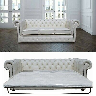 Chesterfield 3 Seater Sofa Bed Premium White Leather Sofa Settee
