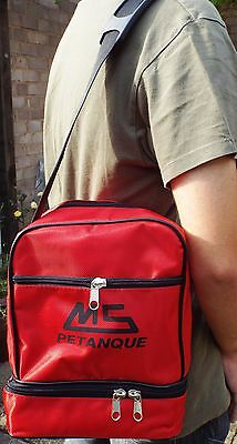 Red MS Petanque Boules bag for one set of three boules
