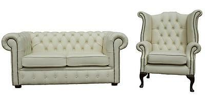 Chesterfield 2 Seater + Wing Chair Premium Cream Leather Sofa Settee Suite