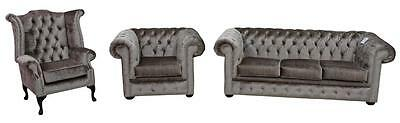 Chesterfield 3 Seater + Club +Wing Boutique Mink Velvet Fabric Sofa Settee Suite