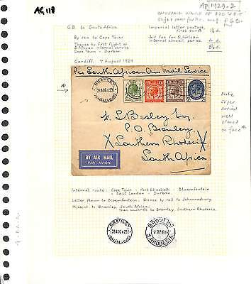 AG118 1929 GB Wales Cardiff PUC Set via SOUTH AFRICA Capetown/First Flight Cover