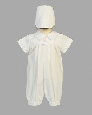 New Baby Boys White Cotton Romper with Hat Christening Baptism Dedication