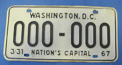 1967 DC sample license plate