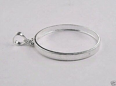 Coin Frame U.S.HALF DOLLAR Reeded Edge Sterling Silver Bezel Soldered Bail NEW